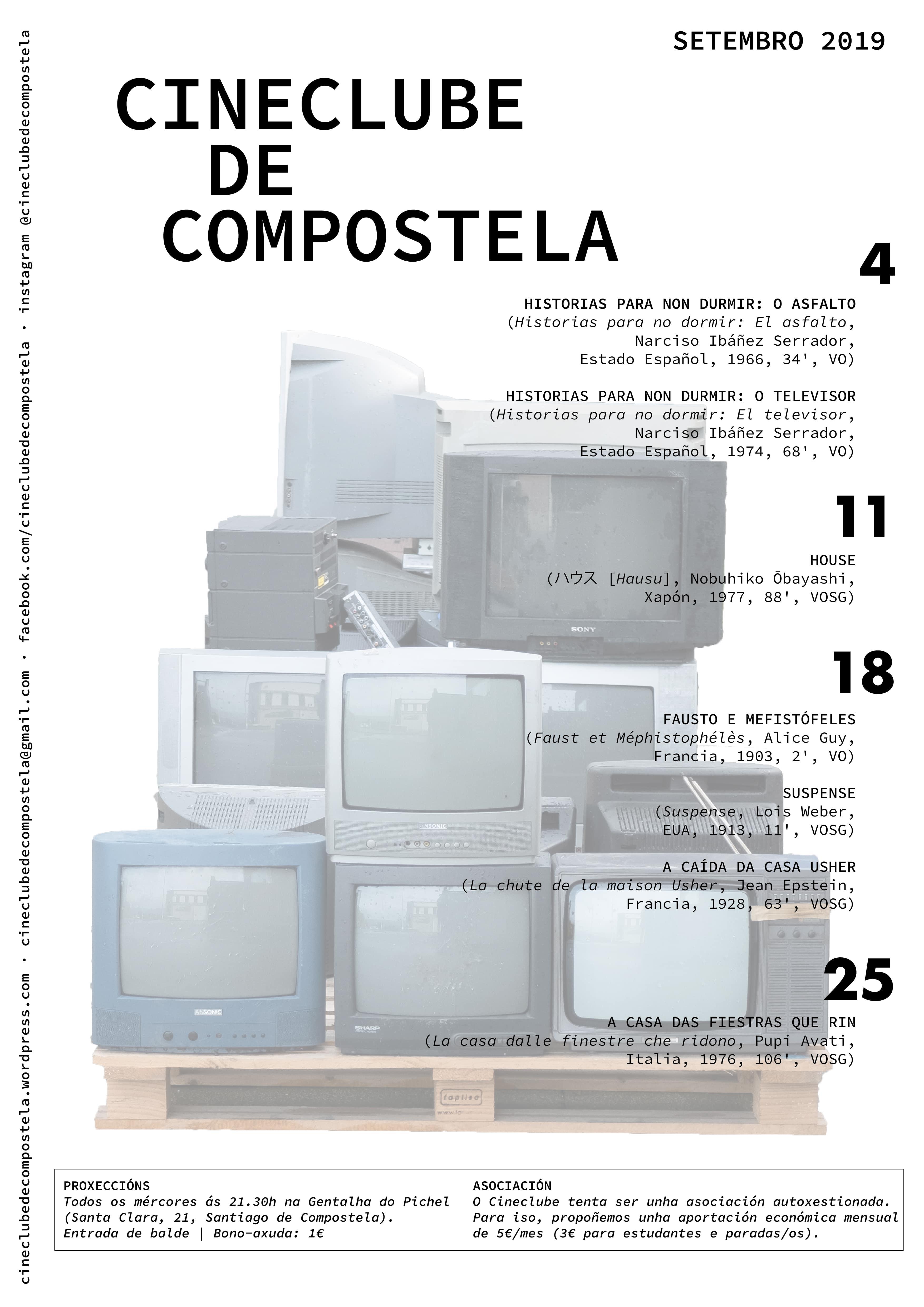 Cineclube de Compostela - cartaz Setembro 2019
